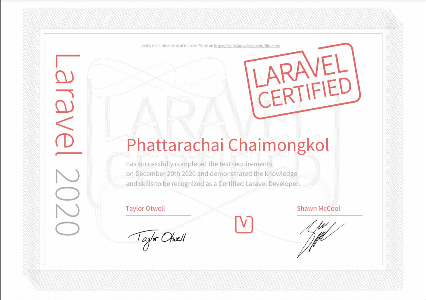 Laravel Certified Developer Phattarachai Chaimongkol